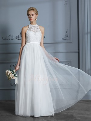 A-Line/Princess Scoop Sleeveless Floor-Length Ivory Wedding Dresses