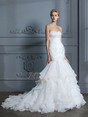 Trumpet/Mermaid Sweetheart Sleeveless Sweep/Brush Train Ivory Wedding Dresses