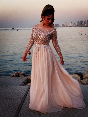 A-Line/Princess Beading Chiffon Long Sleeves Sweep/Brush Train Bateau Dresses
