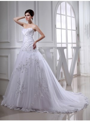Sleeveless Strapless Chapel Train White Wedding Dresses