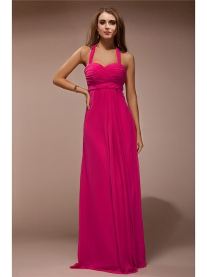 Sleeveless Halter Long Red Bridesmaid Dresses