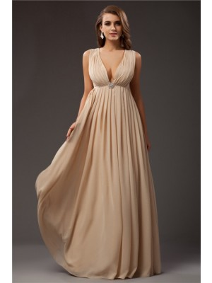 Sleeveless V-neck Long Champagne Dresses