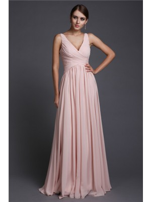 Sleeveless V-neck Long Pink Bridesmaid Dresses