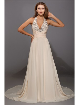 Sleeveless V-neck Sweep/Brush Train Champagne Dresses