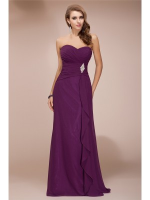 Sleeveless Sweetheart Long Lavender Bridesmaid Dresses