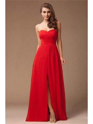 Sleeveless Sweetheart Long Red Bridesmaid Dresses