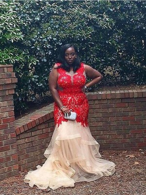 Sleeveless Scoop Court Train Plus Size Red Dresses