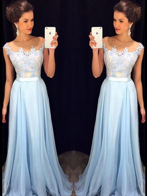 A-Line/Princess Sleeveless Sheer Neck Sweep Train Blue Chiffon Prom Dresses
