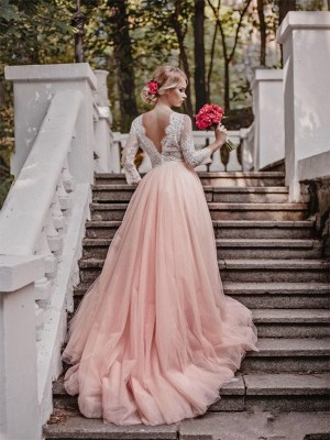 Ball Gown Tulle Applique V-neck Long Sleeves Court Train Pink Wedding Dresses