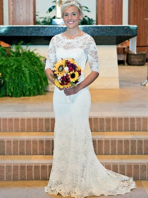 Sheath/Column Lace Ruched Scoop 1/2 Sleeves Sweep/Brush Train Ivory Wedding Dresses