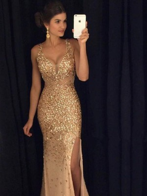 Sheath/Column Sleeveless V-neck Floor-Length Champagne Jersey Prom Dresses