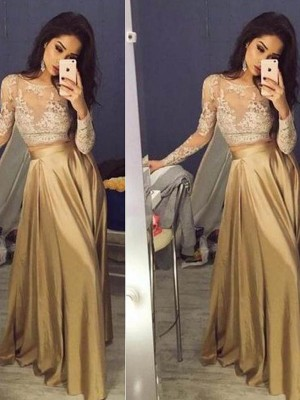 A-Line/Princess Long Sleeves Scoop Long Brown Taffeta Prom Dresses