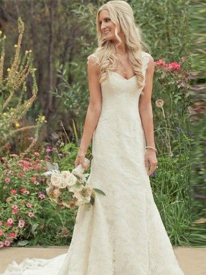 Mermaid Sleeveless V-neck Sweep Train White Lace Wedding Dresses
