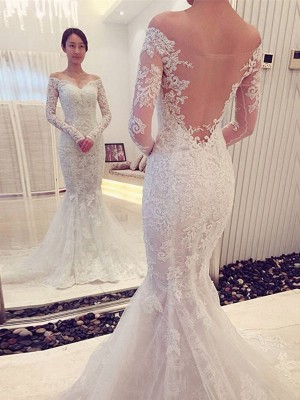 Mermaid Long Sleeves Off-the-Shoulder Chapel Train White Lace Wedding Dresses