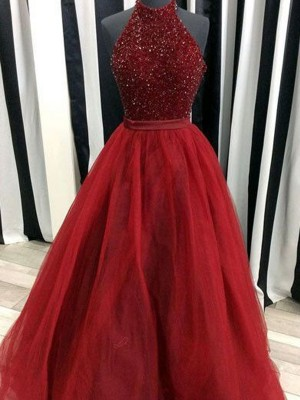 Ball Gown Sleeveless High Neck Long Red Organza Prom Dresses