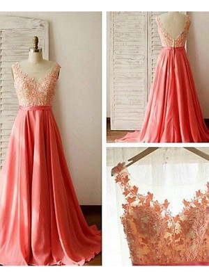A-Line/Princess Sleeveless Sweetheart Long Watermelon Chiffon Bridesmaid Dresses