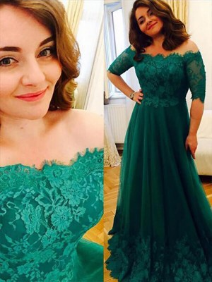 A-Line/Princess Short Sleeves Off-the-Shoulder Long Green Tulle Prom Dresses