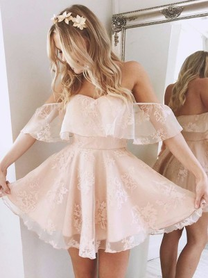A-line/Princess Sleeveless Off-the-Shoulder Short Pink Lace Homecoming Dresses