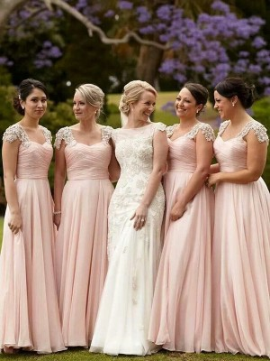 A-Line/Princess Short Sleeves Square Long Pink Chiffon Bridesmaid Dresses