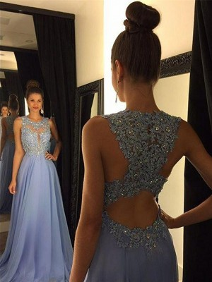A-Line/Princess Sleeveless Scoop Sweep Train Light Sky Blue Chiffon Prom Dresses