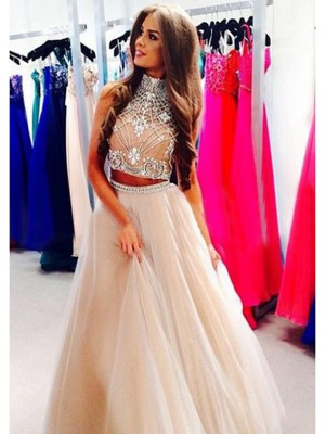 A-Line/Princess Sleeveless High Neck Long Champagne Tulle Prom Dresses