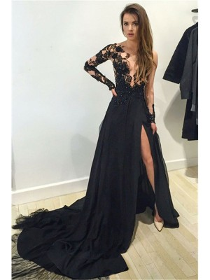 A-Line/Princess Long Sleeves Bateau Court Train Black Chiffon Prom Dresses