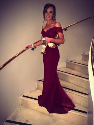 Mermaid Sleeveless Off-the-Shoulder Sweep Train Burgundy Lace Prom Dresses