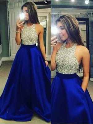 Ball Gown Sleeveless Jewel Long Royal Blue Satin Prom Dresses