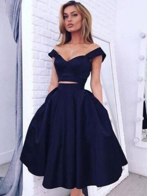 A-line/Princess Sleeveless Off-the-Shoulder Tea-Length Black Taffeta Homecoming Dresses