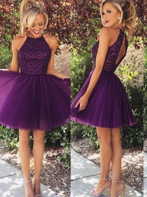 A-line/Princess Sleeveless Halter Short Regency Tulle Homecoming Dresses