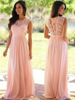 A-Line/Princess Sleeveless Scoop Long Pink Chiffon Prom Dresses