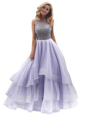 Ball Gown Sleeveless Scoop Long Lilac,Green Organza Prom Dresses