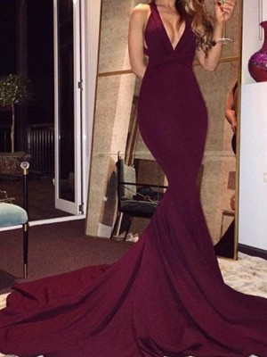 Mermaid Sleeveless V-Neck Court Train Burgundy Spandex Prom Dresses