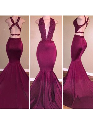 Mermaid Sleeveless V-Neck Sweep Train Burgundy Satin Prom Dresses