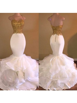 Mermaid Sleeveless Spaghetti Straps Long White Organza Prom Dresses