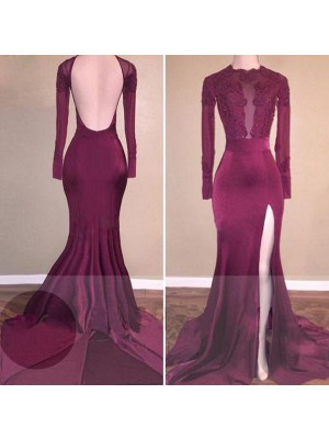 Mermaid Long Sleeves Scoop Sweep Train Burgundy Satin Prom Dresses