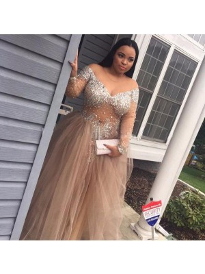 Ball Gown Sleeveless Off-the-Shoulder Long Champagne Tulle Prom Dresses