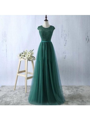 A-Line/Princess Sleeveless Scoop Long Green Tulle Prom Dresses