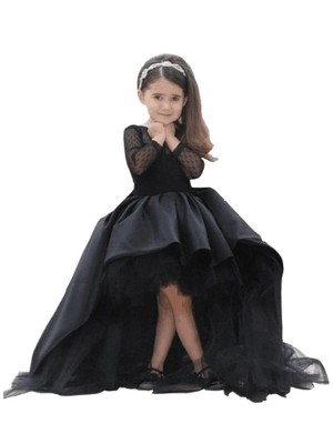Ball Gown Long Sleeves Scoop Sweep/Brush Train Royal Blue,Black Satin Flower Girl Dresses