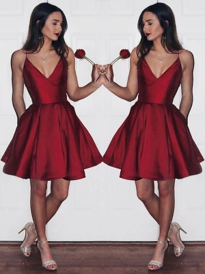A-line/Princess Sleeveless V-neck Short Burgundy Satin Homecoming Dresses