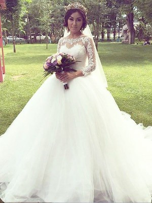 Ball Gown Long Sleeves Bateau Court Train Ivory Tulle Wedding Dresses