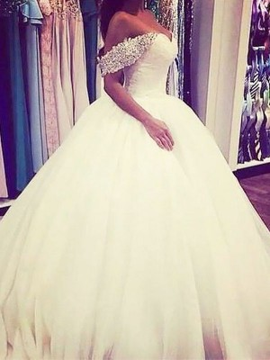 Ball Gown Sleeveless Off-the-Shoulder Sweep Train Ivory Tulle Wedding Dresses