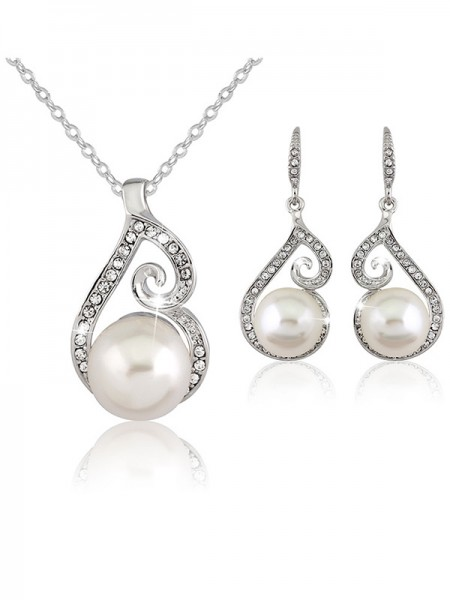 Fancy Alloy With Pearl Wedding Bridal Jewelry Set