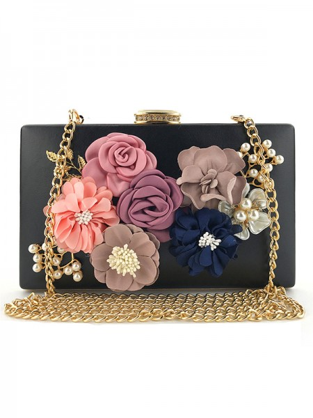Casual PU Evening Bags With 3D Floral