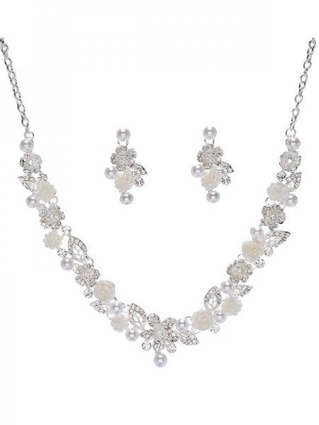 Wedding Trending Alloy With Pearl Bridal Jewelry Set