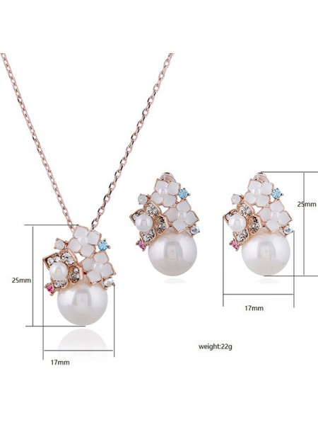 Ladies's New Alloy With Pearl Jewelry Set