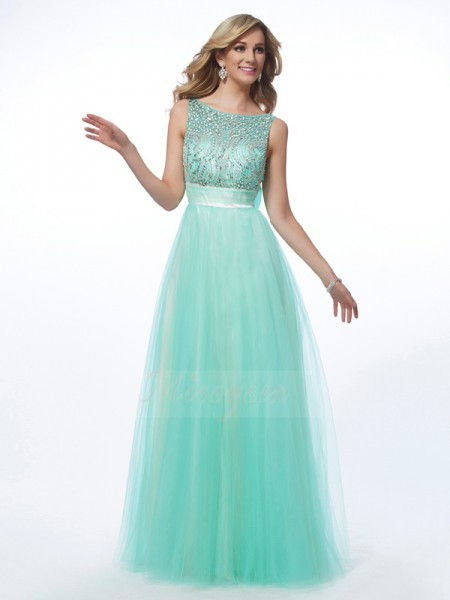 A-Line/Princess Bateau Sleeveless Floor-Length Green Dresses