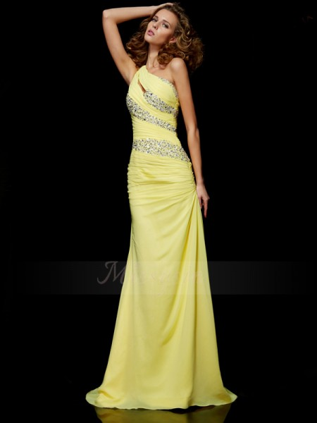 Sheath/Column One-Shoulder Sleeveless Sweep/Brush Train Yellow Dresses