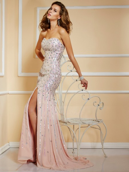 A-Line/Princess Strapless Sleeveless Sweep/Brush Train Pearl Pink Dresses