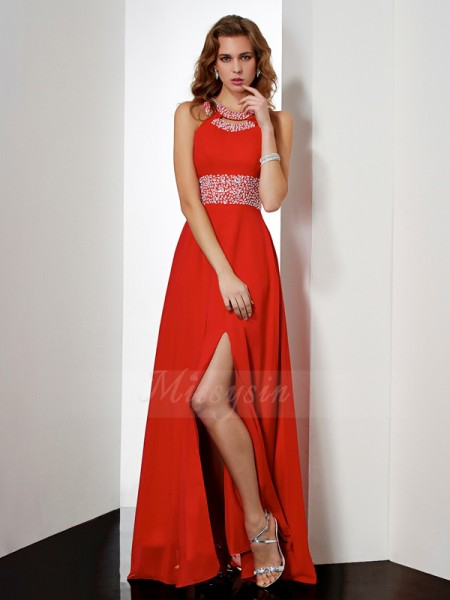 Empire Jewel Sleeveless Floor-Length Red Dresses